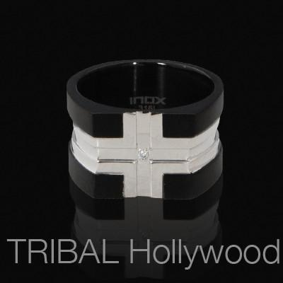 GREEK CROSS Black and Natural Steel Modern Mens Ring with CZ Stone