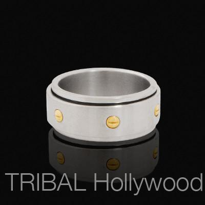 A.I. Mens Spinner Ring with Gold Steel Screws