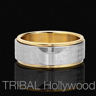 LORD'S PRAYER Spinner Ring in Stainless Steel with Gold PVD