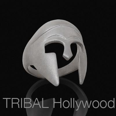 Ring For Men SPARTAN WARRIOR MATTE Steel Helmet | Tribal Hollywood