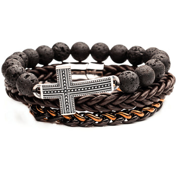 THE TENET Steel Cross Bracelet Stack with Brown Leather and Lava Beads