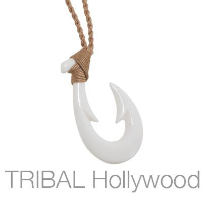 BONE FISH HOOK Necklace On Braided Cord
