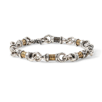 John Varvatos BRASS AND SILVER LINK Hammered Mens Bracelet