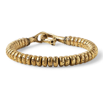 John Varvatos BRASS SIMIT BEAD Bracelet for Men with Skull Clasp