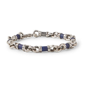 John Varvatos SILVER AND BLUE LAPIS LINK Hammered Mens Bracelet