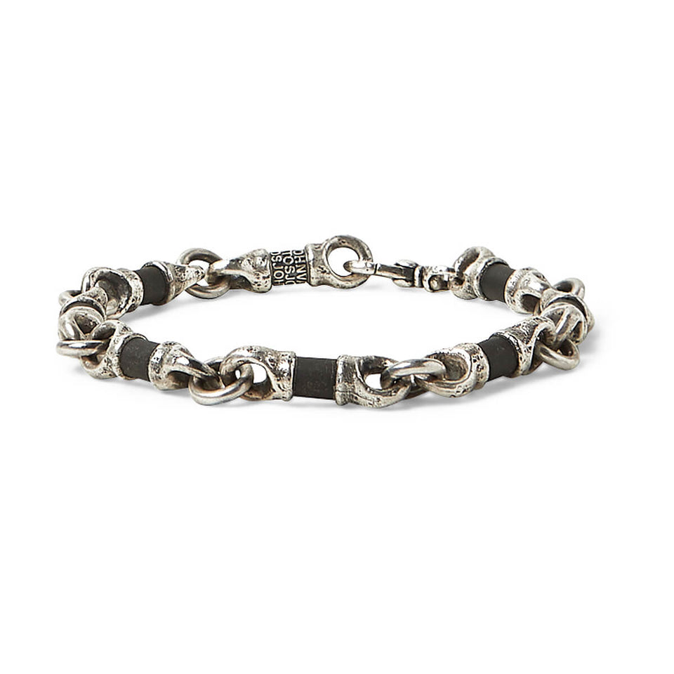 John Varvatos OBSIDIAN AND SILVER LINK Hammered Mens Bracelet