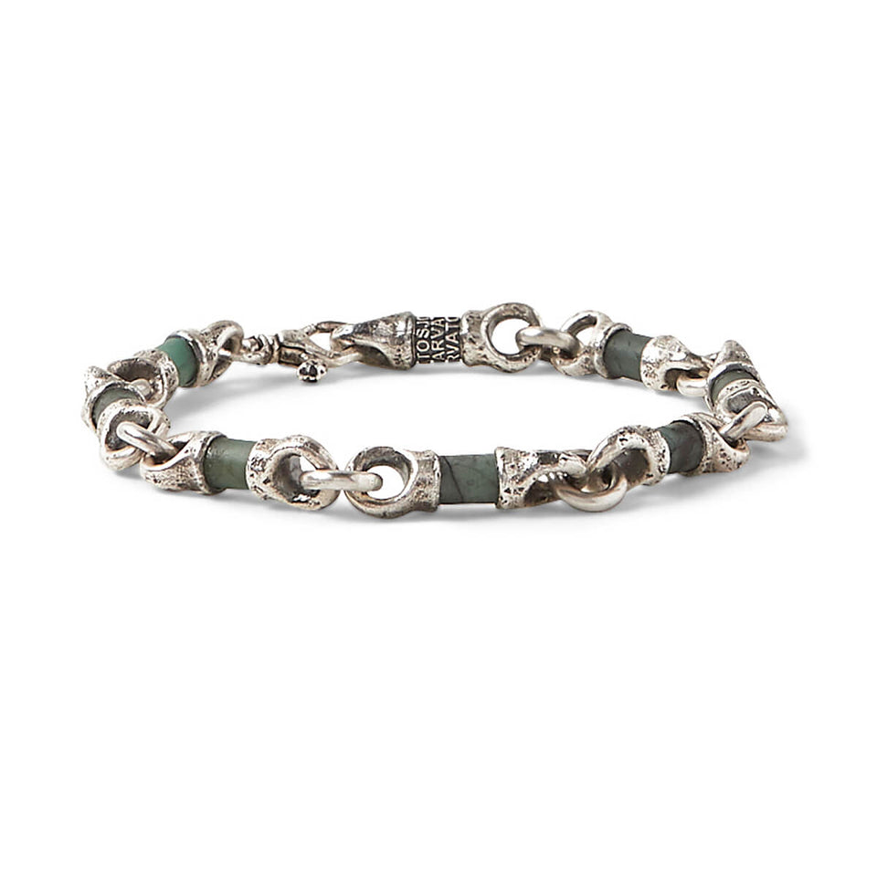 John Varvatos EMERALD AND SILVER LINK Hammered Mens Bracelet