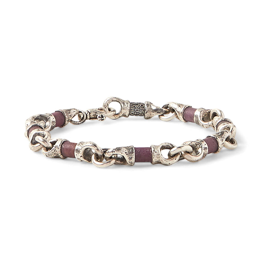 John Varvatos RUBY AND SILVER LINK Hammered Mens Bracelet