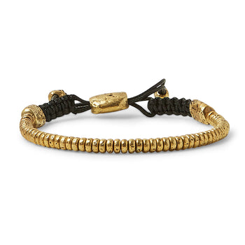 John Varvatos THIN BRASS SIMIT BEAD Adjustable Bracelet for Men