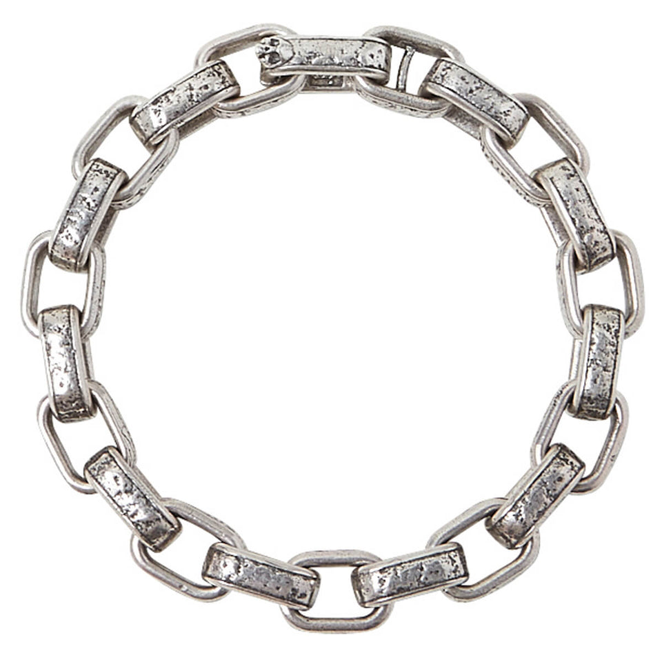 John Varvatos HAMMERED LINK Mens Bracelet in Sterling Silver