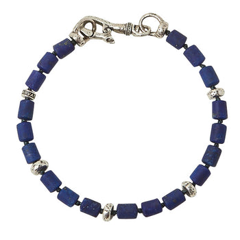 John Varvatos BLUE LAPIS MODERN BEAD Bracelet for Men with Skull Clasp