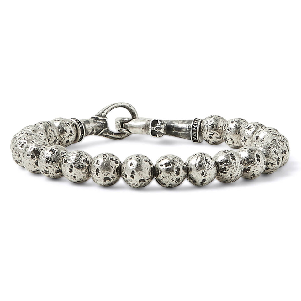 John Varvatos HAMMERED SILVER BEAD Mens Bracelet with Skull Clasp