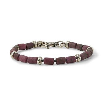 John Varvatos RUBY MODERN BEAD Bracelet for Men with Skull Clasp