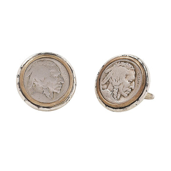 John Varvatos BUFFALO NICKEL CUFFLINKS for Men in Silver and Brass