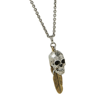 John Varvatos SKULL AND FEATHER Pendant Chain Necklace for Men