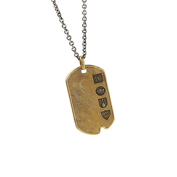 John Varvatos HAMMERED BRASS DOG TAG Pendant Chain for Men