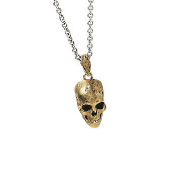 John Varvatos BRASS SKULL Hammered Pendant Chain Necklace for Men
