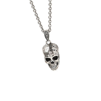 John Varvatos SILVER SKULL Hammered Pendant Chain Necklace for Men