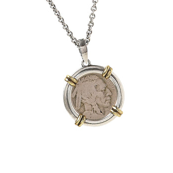 John Varvatos BUFFALO NICKEL Pendant Chain Necklace with Brass Accents