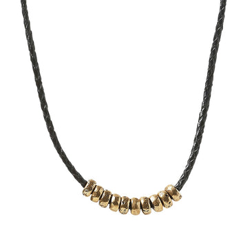 John Varvatos BRASS SIMIT BEAD NECKLACE with Black Leather Cord