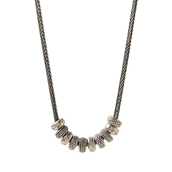 John Varvatos SILVER SIMIT BEAD NECKLACE with Twist Link Chain