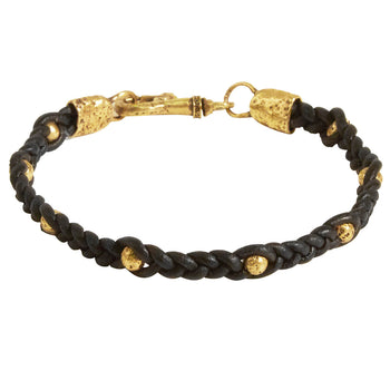 John Varvatos WOVEN BRASS BEAD Mens Bracelet with Brass Skulls