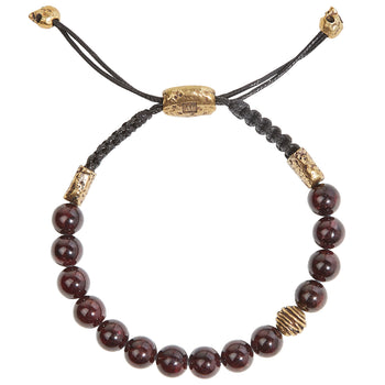 John Varvatos BRASS WIRE BEAD Red Garnet Adjustable Bead Bracelet for Men
