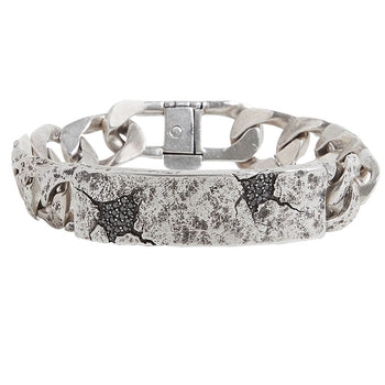 John Varvatos SHATTERED ID TAG Bracelet in Silver with Black Diamonds