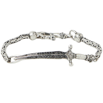 John Varvatos BLACK DIAMOND LONGSWORD BRACELET for Men in Silver