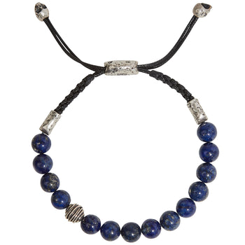 John Varvatos SILVER WIRE BEAD Blue Lapis Adjustable Bead Bracelet for Men