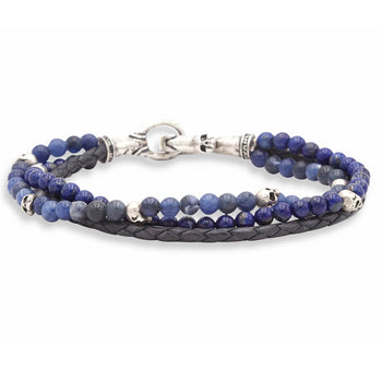 John Varvatos BLUE STONE TRIPLE STRAND Mens Bracelet with Leather