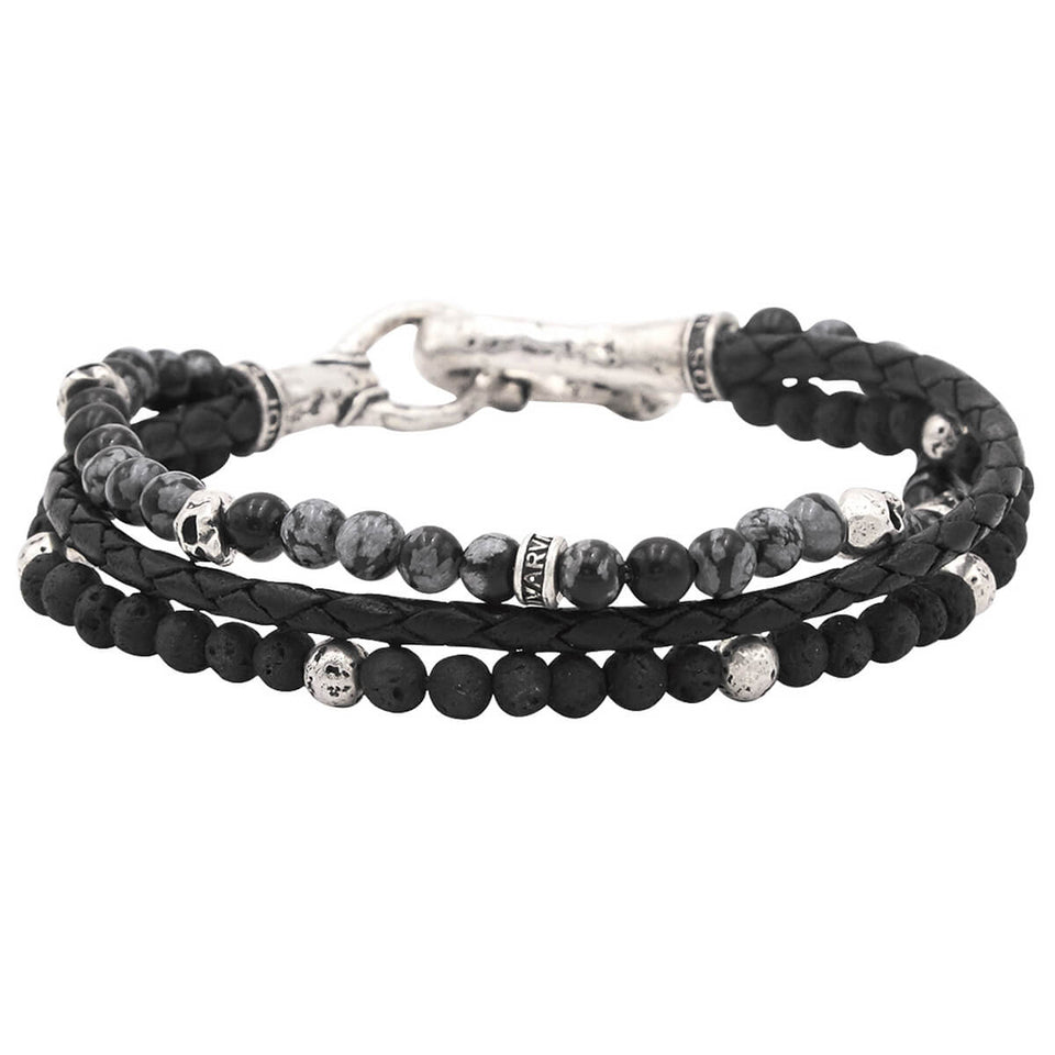 John Varvatos DARK STONE TRIPLE STRAND Mens Bracelet with Leather