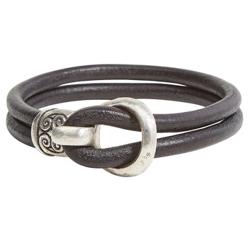 John Varvatos ARTISAN BRACELET Double Strand Black Leather and Silver Mens Bracelet
