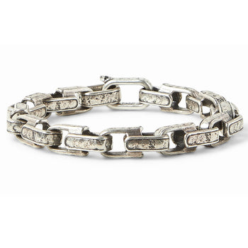 John Varvatos LARGE CLASSIC LINK Distressed Silver Bracelet for Men