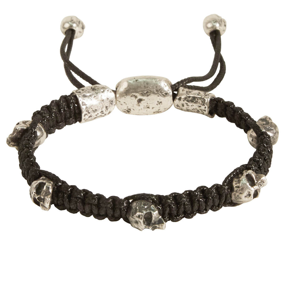 John Varvatos WOVEN SKULL BEAD Mens Bracelet in Sterling Silver
