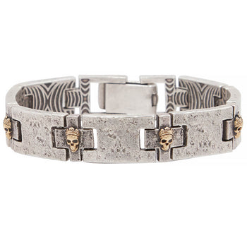 John Varvatos BRASS CROWNED SKULLS Distressed Silver Bracelet for Men
