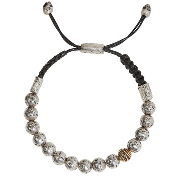 John Varvatos RUGGED SILVER BEAD Adjustable Mens Bracelet with Brass Wire Bead