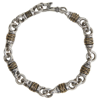 John Varvatos SILVER AND BRASS WIRE LINK Hammered Mens Bracelet