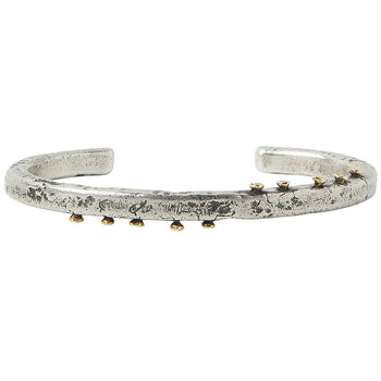 John Varvatos BRASS NAILS THIN CUFF Silver Bracelet for Men