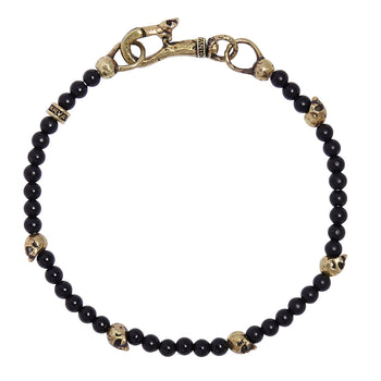 John Varvatos ONYX AND BRASS SKULL Bead Mens Bracelet with Brass Skull Clasp