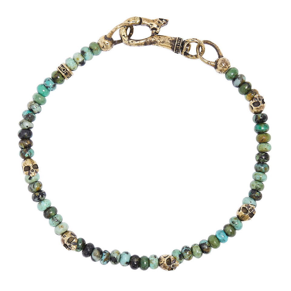 John Varvatos TURQUOISE AND BRASS SKULL Bead Mens Bracelet with Brass Clasp