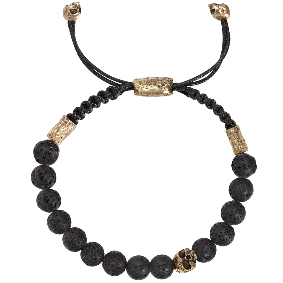 John Varvatos LAVA BEAD Adjustable Mens Bracelet with Brass Skull