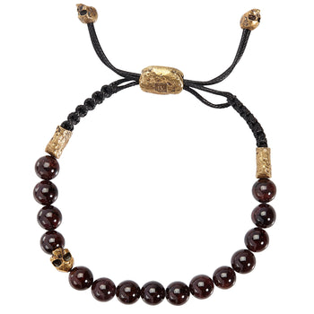 John Varvatos RED GARNET BEAD Adjustable Bracelet with Brass Skull