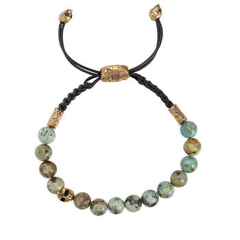 John Varvatos TURQUOISE BEAD Adjustable Mens Bracelet with Brass Skulls