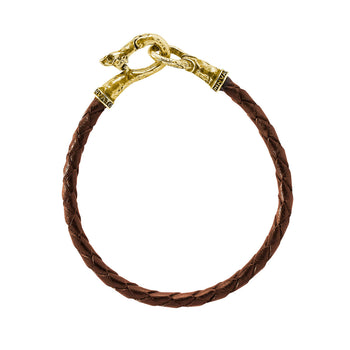 John Varvatos BRASS AND BROWN LEATHER Mens Bracelet with Skull Clasp