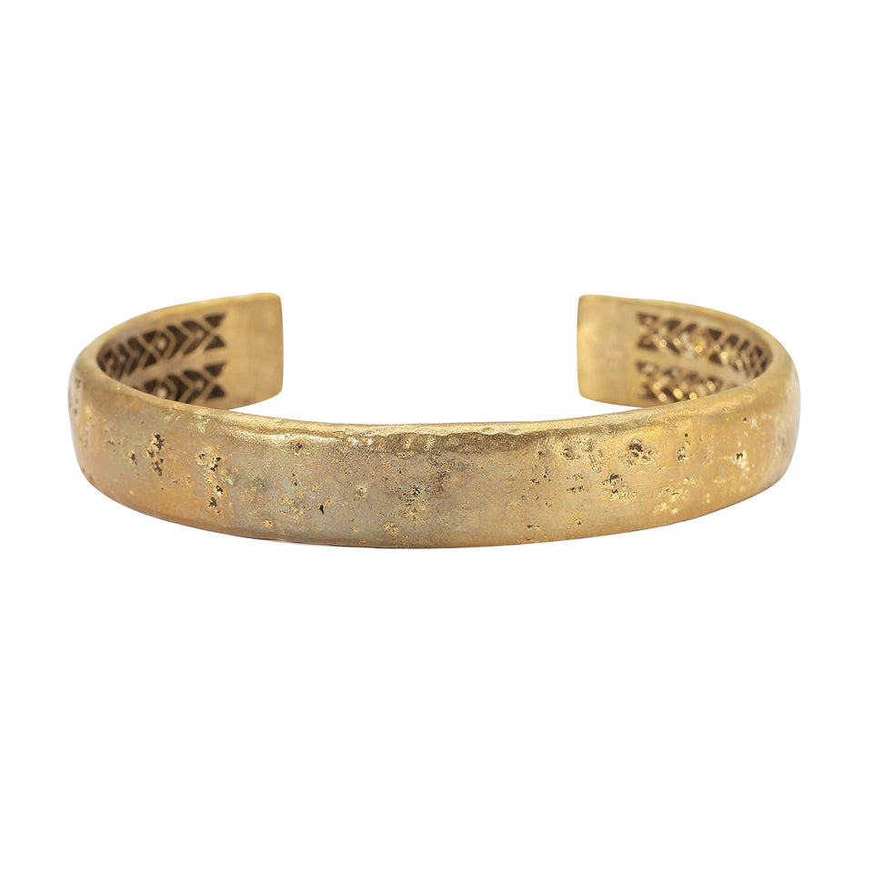 John Varvatos BRASS HAMMERED CUFF Bracelet for Men Thick Width