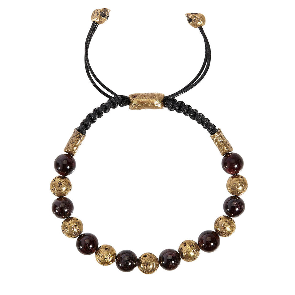 John Varvatos BRASS AND RED GARNET BEAD Adjustable Mens Bracelet