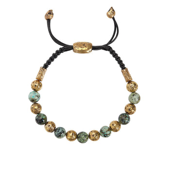 John Varvatos BRASS AND TURQUOISE BEAD Adjustable Mens Bracelet