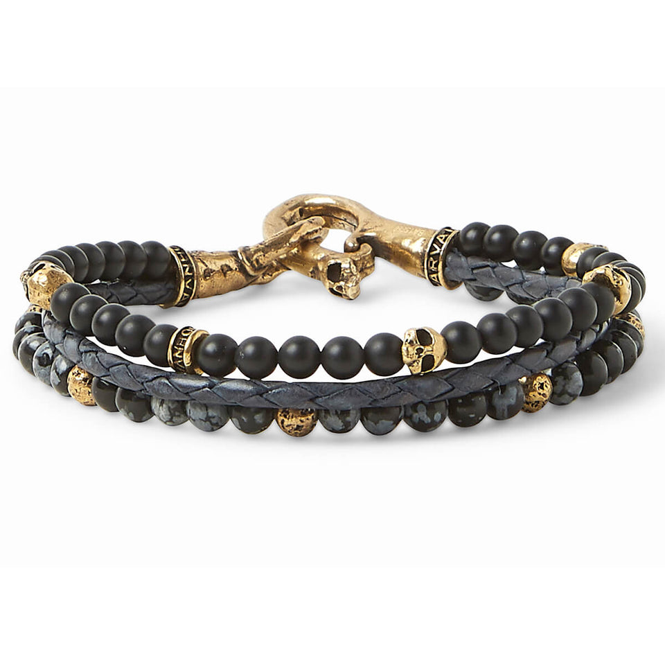 John Varvatos BRASS TRIPLE STRAND Mens Bracelet with Leather and Beads