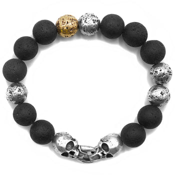 John Varvatos MULTI-BEAD SKULL BRACELET Silver Brass and Lava Beads
